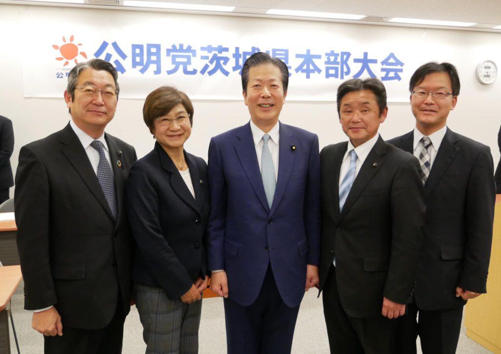 新たな県本部の執行部(左から八島さいお幹事長、田村けい子副代表、山口党代表、高崎県分部代表、村本県幹事)